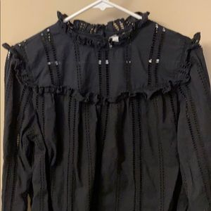 Gap ruffle top large black cotton